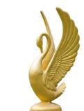 Gouden zwaanstandbeeld Stock Foto's