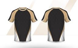 Gouden, Zwart-witte lay-out e-sport t-shirtontwerpsjabloon royalty-vrije stock afbeeldingen