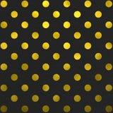 Gouden Zwarte Polka Dot Pattern Digital Paper Royalty-vrije Stock Afbeeldingen
