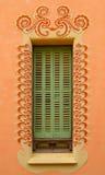 Goudi inspired window frame. Window with gaudi inspired deco frame pattern Stock Photo
