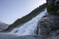 Goudklompjesdalingen en mendenhall gletsjer, Alaska stock afbeeldingen