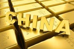 Goudstaven, de tekst van China Royalty-vrije Stock Fotografie