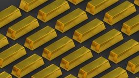 Goudstaven en rijkdom Unimaginable rijkdom loopable bewegende stapels goudstaven stock illustratie