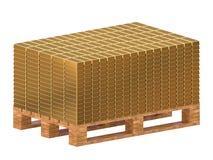 Goudstaven op een pallet worden gestapeld die Opslag van goud het 3d teruggeven stock illustratie