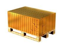 Goudstaven op een pallet worden gestapeld die Opslag van goud het 3d teruggeven vector illustratie