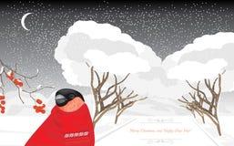 Goudvink in het de winterpark Kerstman Klaus, hemel, vorst, zak Royalty-vrije Stock Afbeeldingen