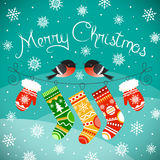 Goudvinken op de lijn met Kerstmishandschoenen en sokken Royalty-vrije Stock Afbeelding