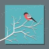 Goudvinkzitting op een tak op de achtergrond van sneeuwval stock illustratie
