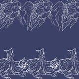 Goudvis over Diepe Blauwe Achtergrond Naadloos Vectorpatroon voor Textiel of Boekdekking, Productie, Behang, Druk, Gift vector illustratie