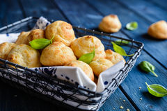 Gougéres - traditional French cheese choux pastry. Traditional French Gougerés - savory cheese choux pastry Royalty Free Stock Photos