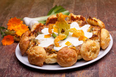 Gougère With Vegetables And Calendula Flowers Royalty Free Stock Image