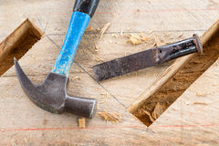 Gouge wood chisel carpenter. Tool hammer royalty free stock images