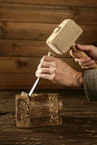 Gouge wood chisel carpenter tool hand hammer Royalty Free Stock Photo