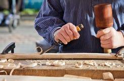 Gouge wood chisel carpenter tool. Royalty Free Stock Photos