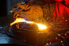 Gouging with acetylene royalty free stock photo