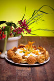 Gougère Cake With Vegetables And Spring Flowers Stock Photos
