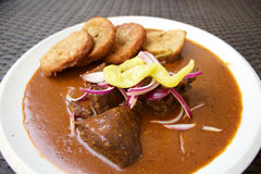 Goulash βόειου κρέατος σε ένα άσπρο πιάτο Στοκ εικόνες με δικαίωμα ελεύθερης χρήσης