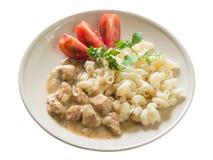 Goulash χοιρινού κρέατος με τα μακαρόνια και την τεμαχισμένη ντομάτα Στοκ φωτογραφία με δικαίωμα ελεύθερης χρήσης