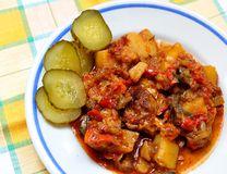 Goulash. Dish of beef goulash, ready to serve. Lovely warming food Stock Photo