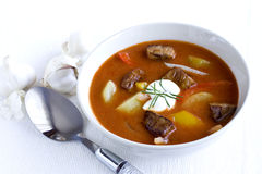 Goulash. Bowl of goulash with garlic Royalty Free Stock Photography