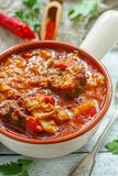 Goulash with beef. Hungarian cuisine. Royalty Free Stock Images