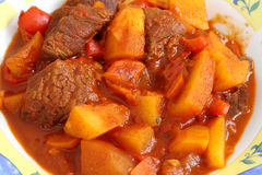 Goulash (beef, potato, paprika and vegetables) Hungarian dish Royalty Free Stock Images