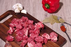 Goulash or beef stew ingredients ready for cooking. Photographed for a bird`s eye view royalty free stock images