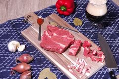 Goulash or beef stew ingredients ready for cooking. Photographed for a bird`s eye view royalty free stock photography