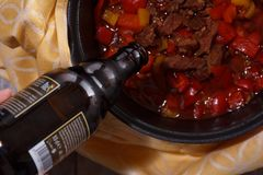 Goulash or beef stew in the pan from a flat top down view royalty free stock images