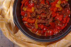 Goulash or beef stew in the pan from a flat top down view stock image
