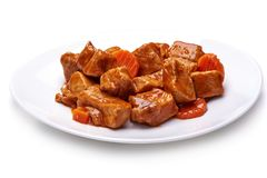 Goulash, beef stew on white background royalty free stock photography
