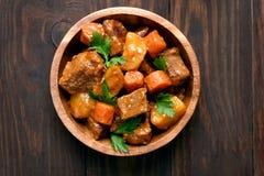 Goulash in bowl, top view Stock Image