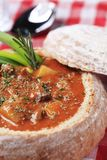 Goulash in a bread bowl Stock Photography