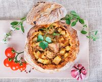 Goulash in bread Royalty Free Stock Image