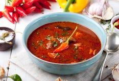 Goulash, carne, tomate, pimenta, pimentão, sopa fumado da paprika fotografia de stock royalty free