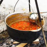 Goulash in cauldron Royalty Free Stock Photo