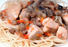 Goulash chicken breasts with carrots and mushrooms Stock Image