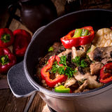 Goulash with colored vegetables Stock Photos