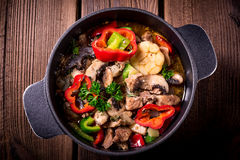 Goulash with colored vegetables Royalty Free Stock Photo