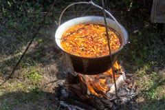 Goulash do feijão em um caldeirão Imagem de Stock Royalty Free