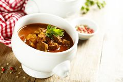 Goulash. Homemade goulash with beef and parsley Royalty Free Stock Image