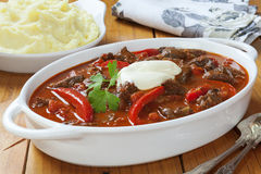 Goulash and Mashed Potato Royalty Free Stock Images