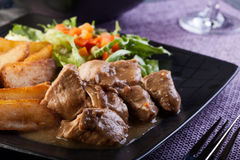 Goulash with prepared potatoes Royalty Free Stock Photo
