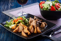Goulash with prepared potatoes Royalty Free Stock Image