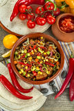 Goulash rich with meat and fresh vegetables. Stew from various vegetables and meat. Mexican cuisine Royalty Free Stock Photo