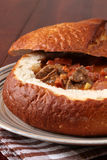Goulash soup in a bread bowl Royalty Free Stock Images