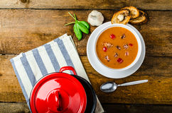 Goulash soup with crispy garlic toast Royalty Free Stock Photos