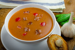 Goulash soup with crispy garlic toast Stock Images