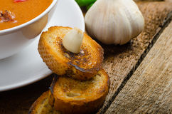 Goulash soup with crispy garlic toast Royalty Free Stock Photo