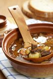 Goulash soup. Detail of bowl with goulash soup, bread and wooden ladle Royalty Free Stock Photography